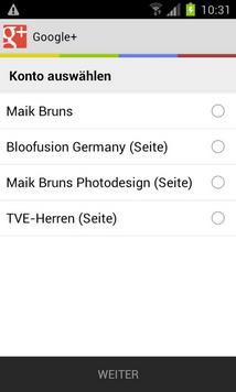 Screenshot Google+ App Anmeldung