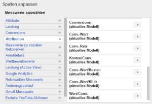 Abbildung 3: Zusätzliche Conversion-Spalten ermöglichen Auswertungen vergangener Daten nach dem aktuellen Modell.