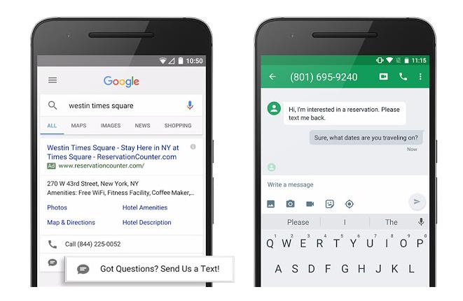 Der Nutzer kann durch Klick auf den Text-Button direkt mit dem Unternehmen via SMS in Kontakt treten (Quelle: Google Inside AdWords Blog).