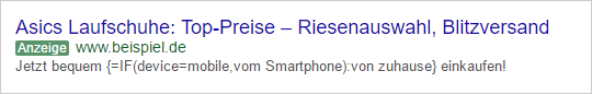 Jetzt bequem {=IF(device=mobile,vom Smartphone):von zuhause} einkaufen!