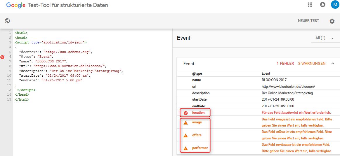 Abbildung 2: Googles Test-Tool für strukturierte Daten überprüft die JSON-LD-Daten und zeigt Fehler/Warnungen an.