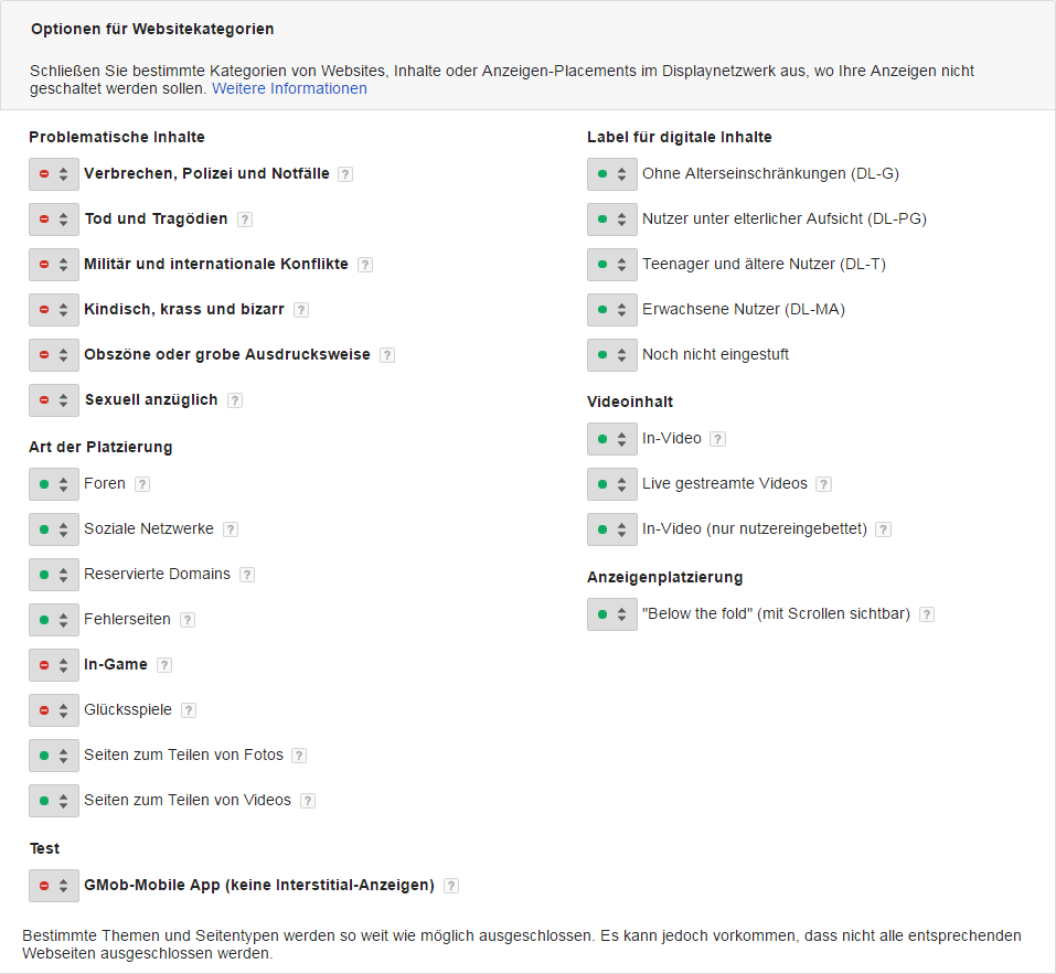 Abbildung 3: In AdWords lassen sich thematisch gegliederte Webseitenkategorien ausschließen, die beispielsweise nicht zum Inhalt passen.
