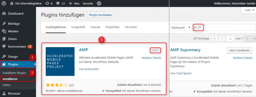 Installationsschritte des AMP-Plugins für WordPress