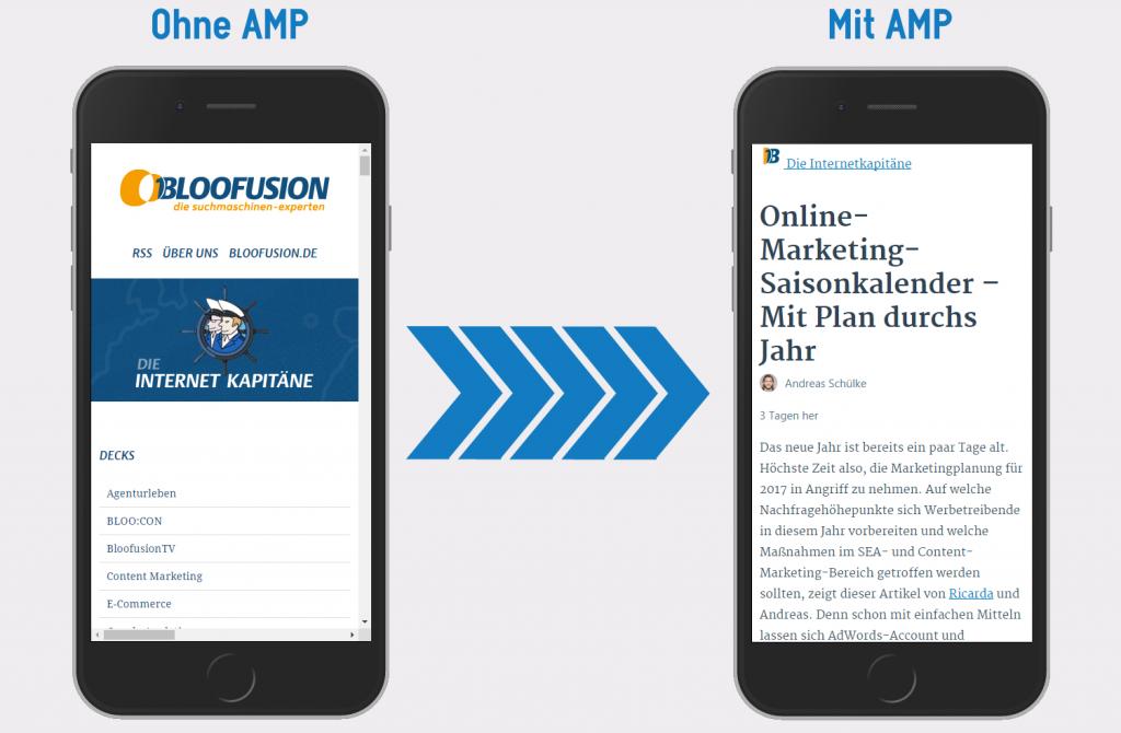 Mobile-Seite mit und ohne AMP