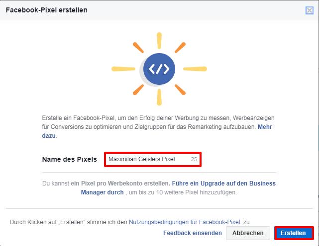 FB-Pixel Namen vergeben