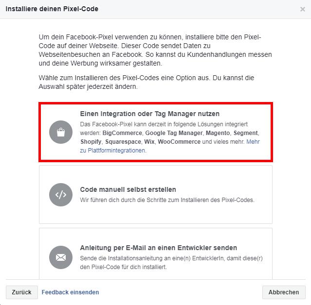 FB-Pixel über den Tag Manager