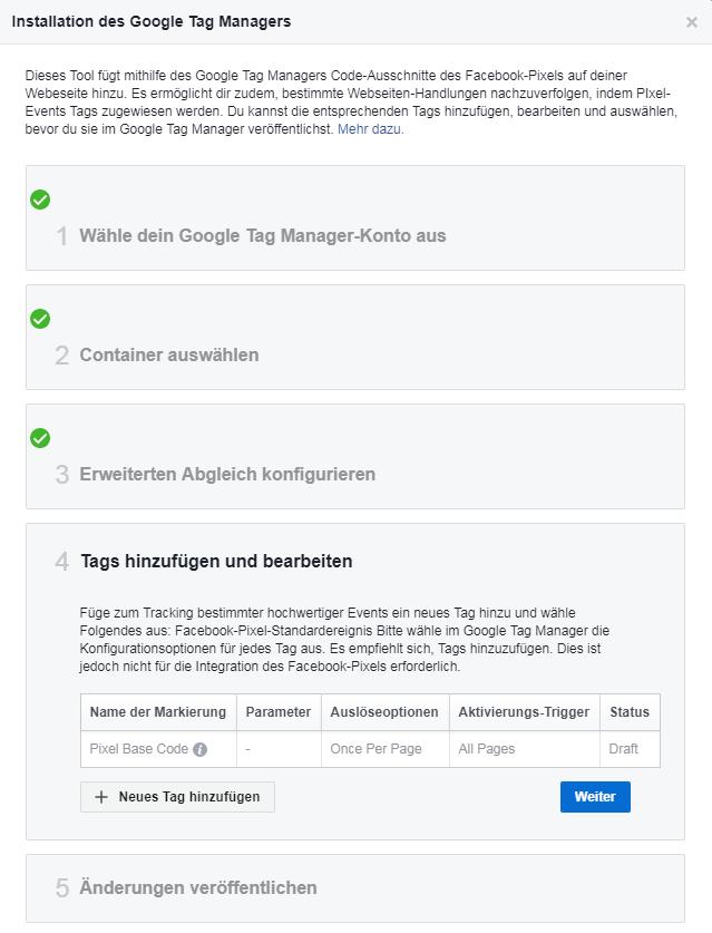 FB-Pixel Tags hinzufügen und bearbeiten