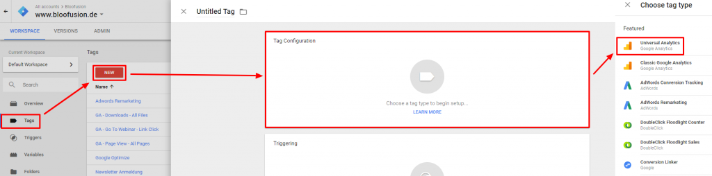 Google Tag Manager UA-Tag Auswahl