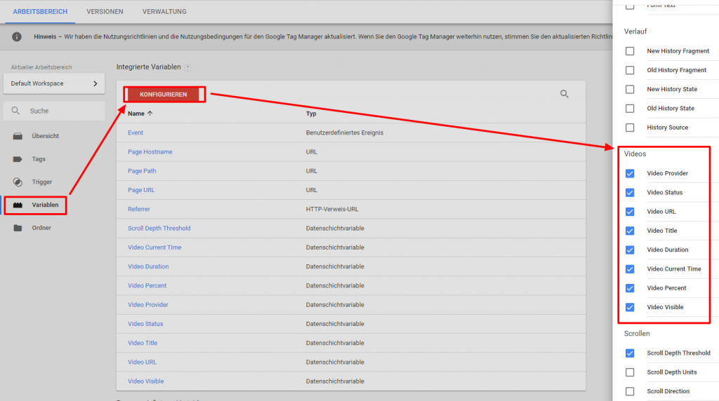 Google Tag Manager Video Variablen auswählen