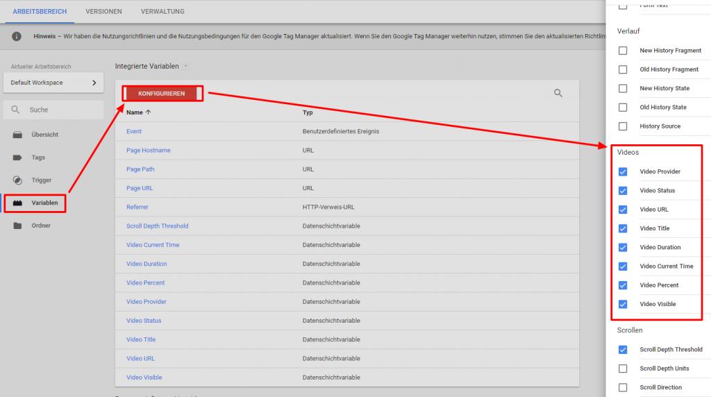 Google Tag Manager Video Variablen auswählen