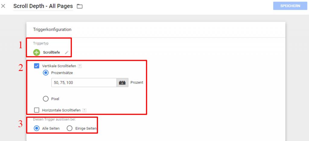 Klickanleitung für den Scrolltiefe Trigger des Google Tag Managers