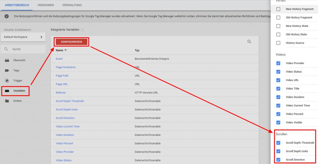 Klickanleitung Google Tag Manager Variablen für das Scroll tracking aktivieren