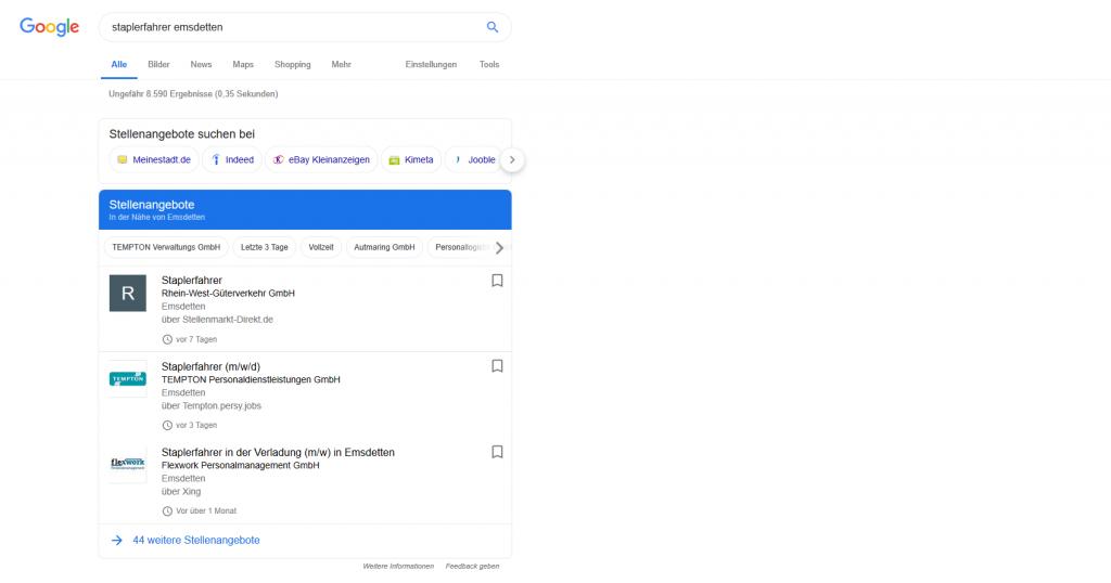 Jobangebote für Staplerfahrer in Emsdetten über Google