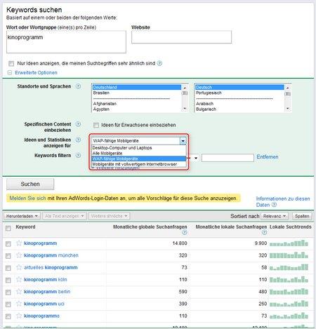 Keyword on Google Keyword Datenbank Jetzt Auch Mit Mobilen Daten   Die