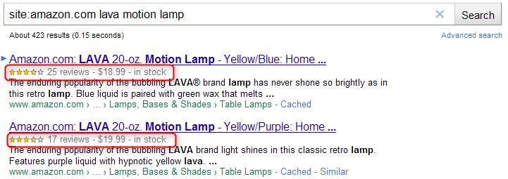 Rich Snippets Products Example